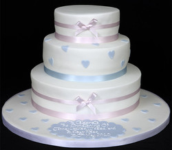 003345 Stacked Christening Cake with Pink and Blue Trim