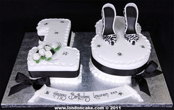 003891 Numbers One and Eight  18th Birthday Cake with Sugar Shoes