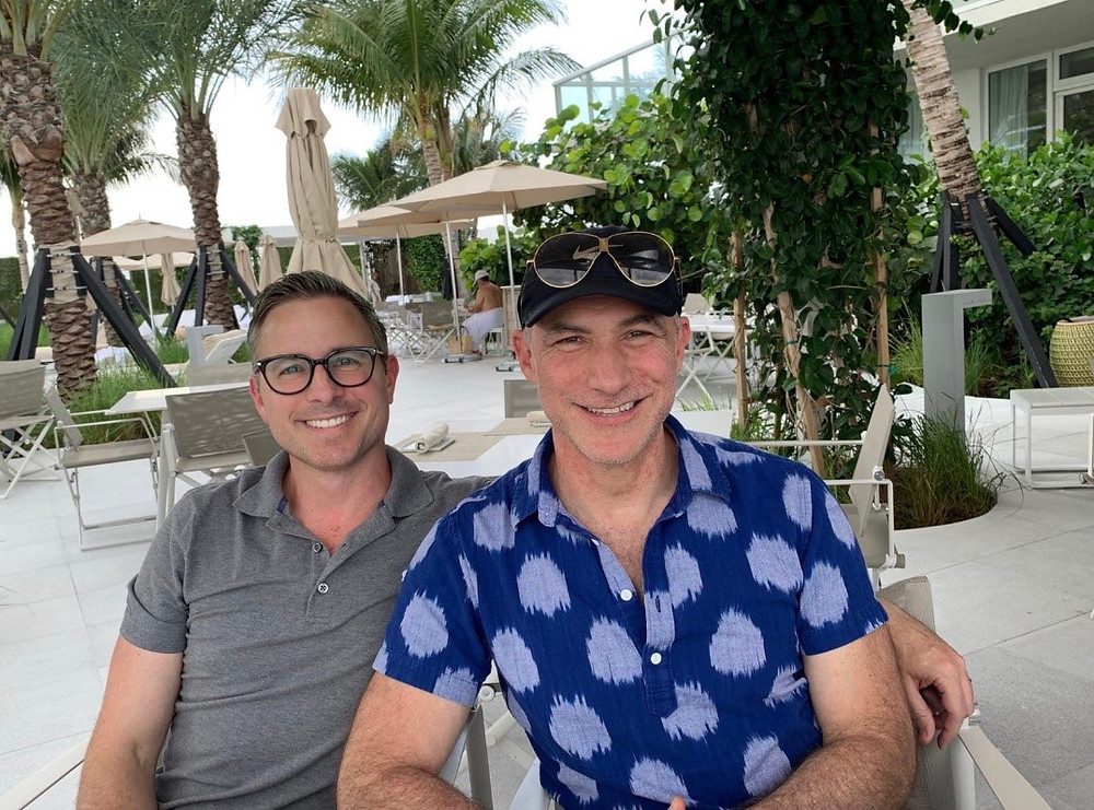 Kevin (L) and his husband Jonathan (R). Miami June 2019. (Source: K Huntting)