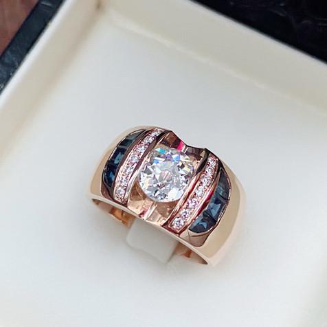 Diamant et saphirs montage type jonc sur