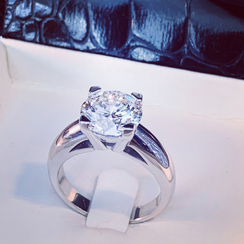 Solitaire diamant 3 c or gris palladiéar