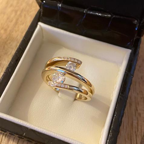 Bague toi et moi diamants sur or jaune 7