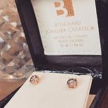 Puces d'oreilles diamants cognac sur or