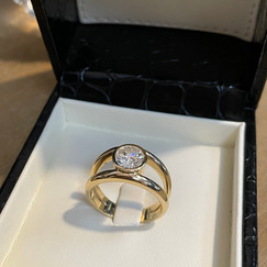 Solitaire diamant anneau double or jaune