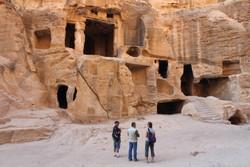 rock dwellings in little petra