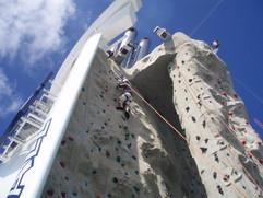 matt climbing wall on ship
