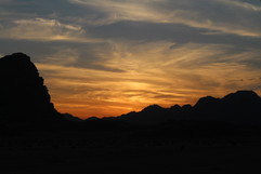 sunset in the wadi rum