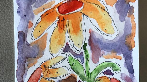 watercolour flower card