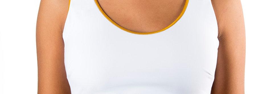 Corpetto Top lycra bianco con rifinitura oro