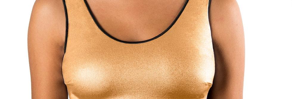 Corpetto Top oro laminato con fascia