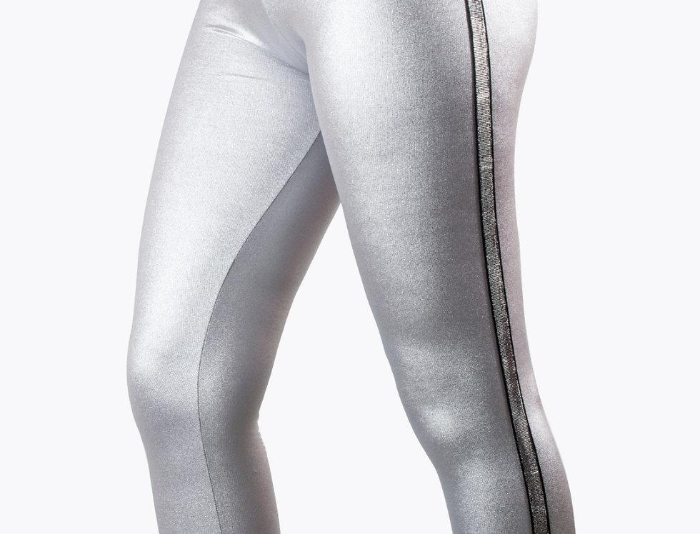 Leggings grigio laminato con bande