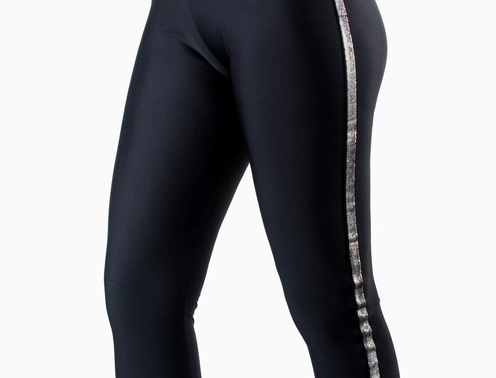 Leggings lycra nero con bande argento