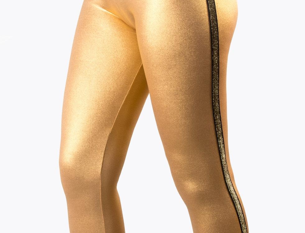 Leggings oro laminato con bande