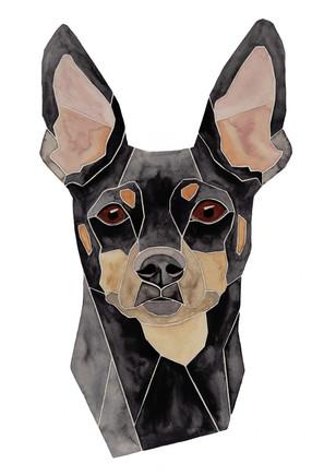 Ein Hundeportrait nach Fotovorlage von einem Pinscher