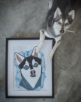 Tierportrait Pet Portrait Hundeportrait Acrylbild Hundebild, Kundenfoto, Alaskan Klee Kai