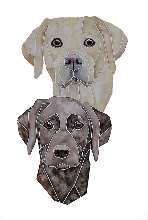Ein Hundeportrait nach Fotovorlage von zwei Labradorretriever