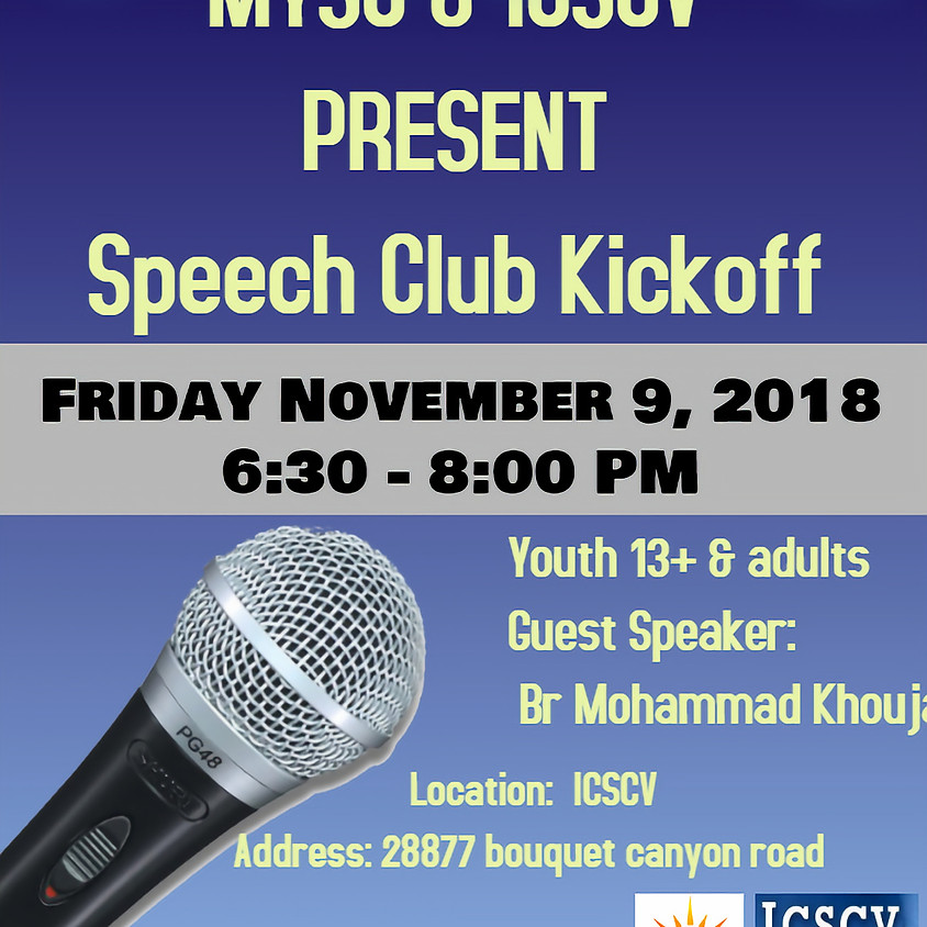 MYSC Speech Club Kickoff
