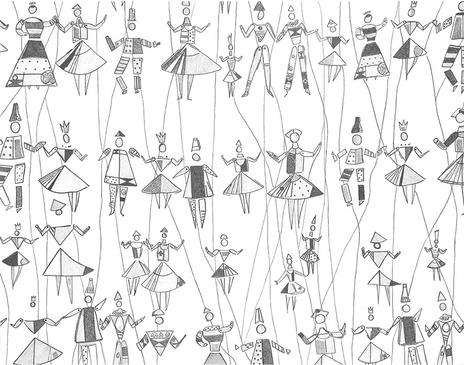 Museum Inspired Puppet Pattern Drawing