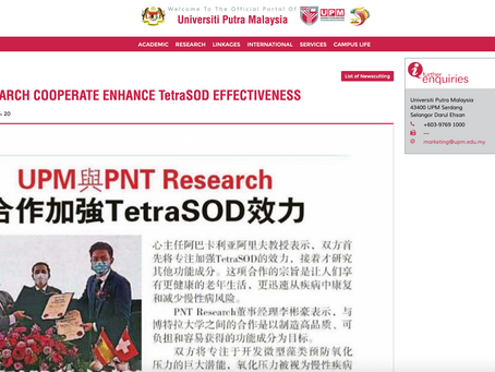 UPM AND PNT RESEARCH COOPERATE ENHANCE TetraSOD EFFECTIVENESS