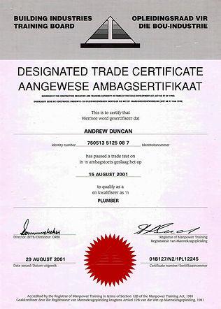 Andrew Duncan Plumbing Trade Certificate