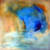 Toile abstraite couleur bleu dominante sur fond couleur terre.Évoque la vie sur terre.