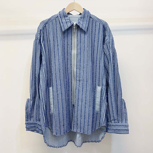刺し子ストライプジャカードシャツブルゾン - gray blue
