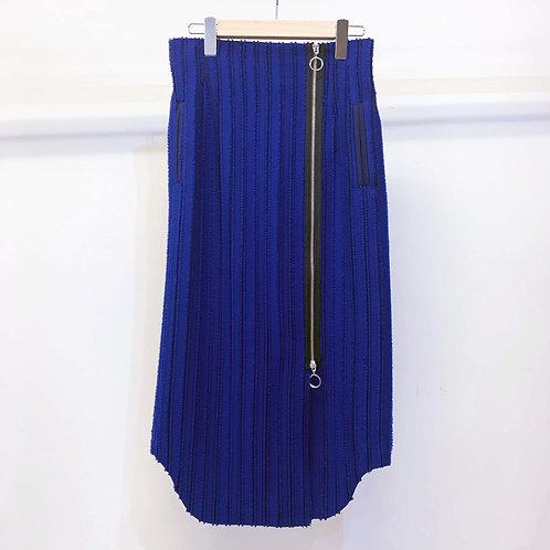 刺し子ストライプジャカードスカート - royal blue