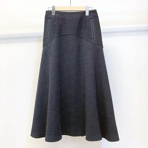 ウールヘリンボーンフレアスカート - black