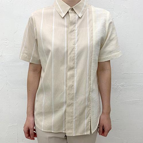 アシンメトリー異素材パネルシャツ