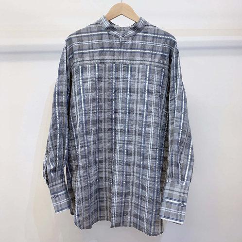 刺し子ネイディブチェックシャツ - gray