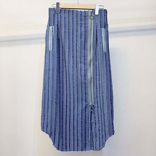 刺し子ストライプジャカードスカート - gray blue