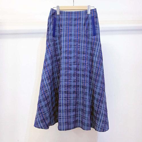 刺し子ネイディブチェックフレアスカート - royal blue