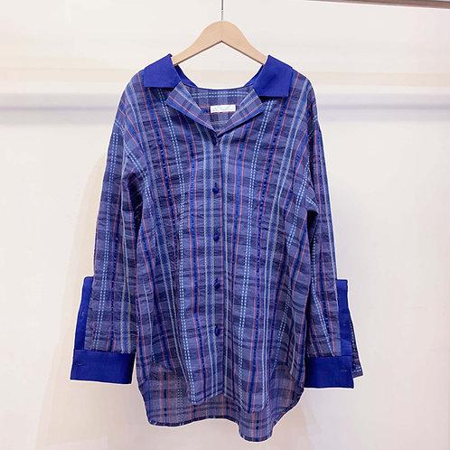 刺し子ネイディブチェックオーバーサイズシャツ - royal blue