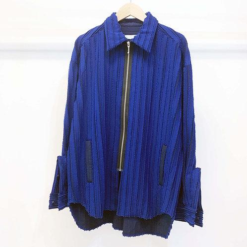 刺し子ストライプジャカードシャツブルゾン - royal blue