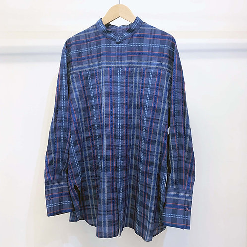 刺し子ネイディブチェックシャツ - royal blue