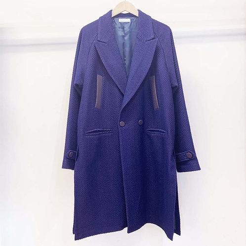 ウールヘリンボーンチェスターコート  - royal blue