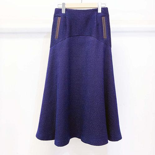 ウールヘリンボーンフレアスカート - royal blue