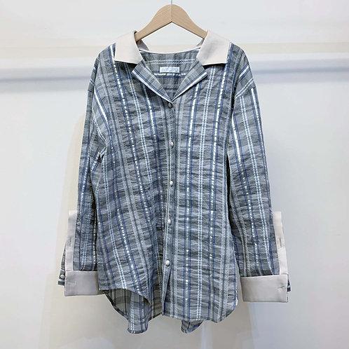 刺し子ネイディブチェックオーバーサイズシャツ  - gray