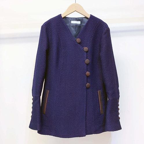 ウールヘリンボーンカフスジャケット - royal blue