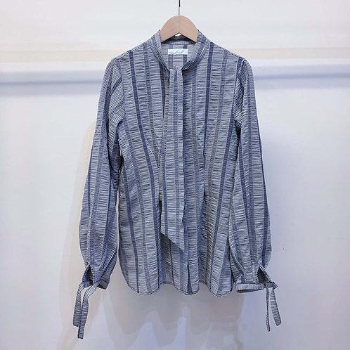 ギンガムストライプ刺し子シャツ  - navy x gray