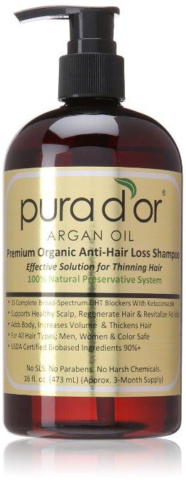 Pura d'or Premium Organic Anti-Hair Loss Shampoo (Gold Label), 16 Fluid Ounce