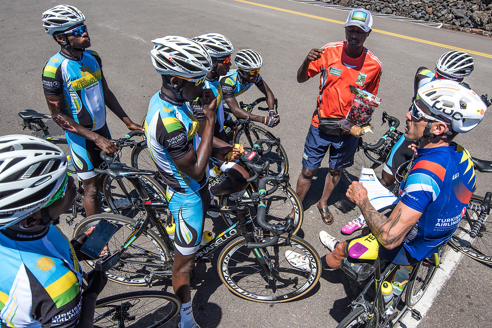 Sterling Magnell coaches Team Rwanda riders
