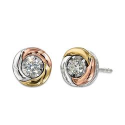 10K Tricolor Gold Earrings