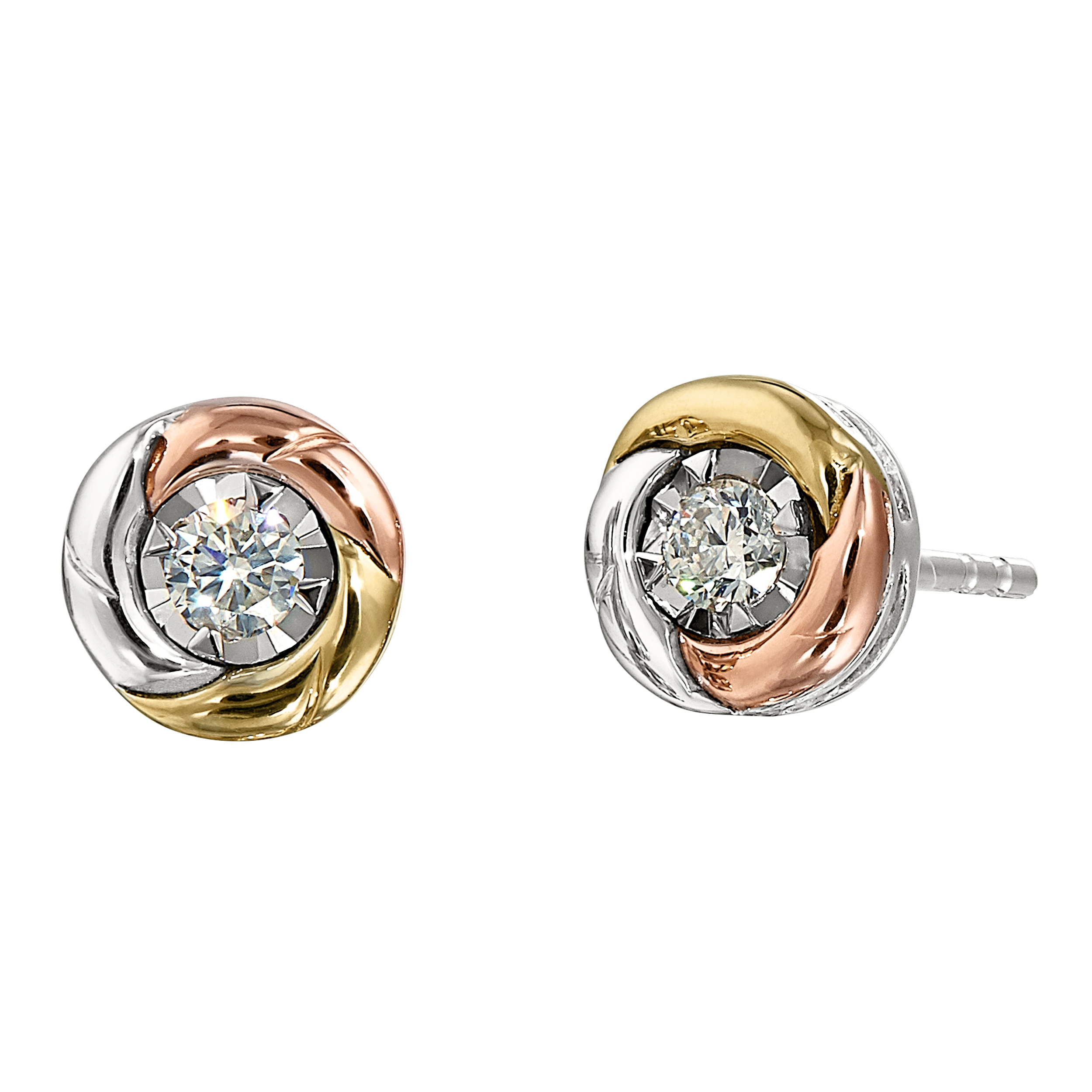 Tricolor Diamond Earrings