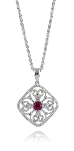 Ruby Filigree Pendant Necklace