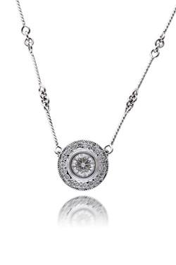 Diamond Halo Pendant Necklace