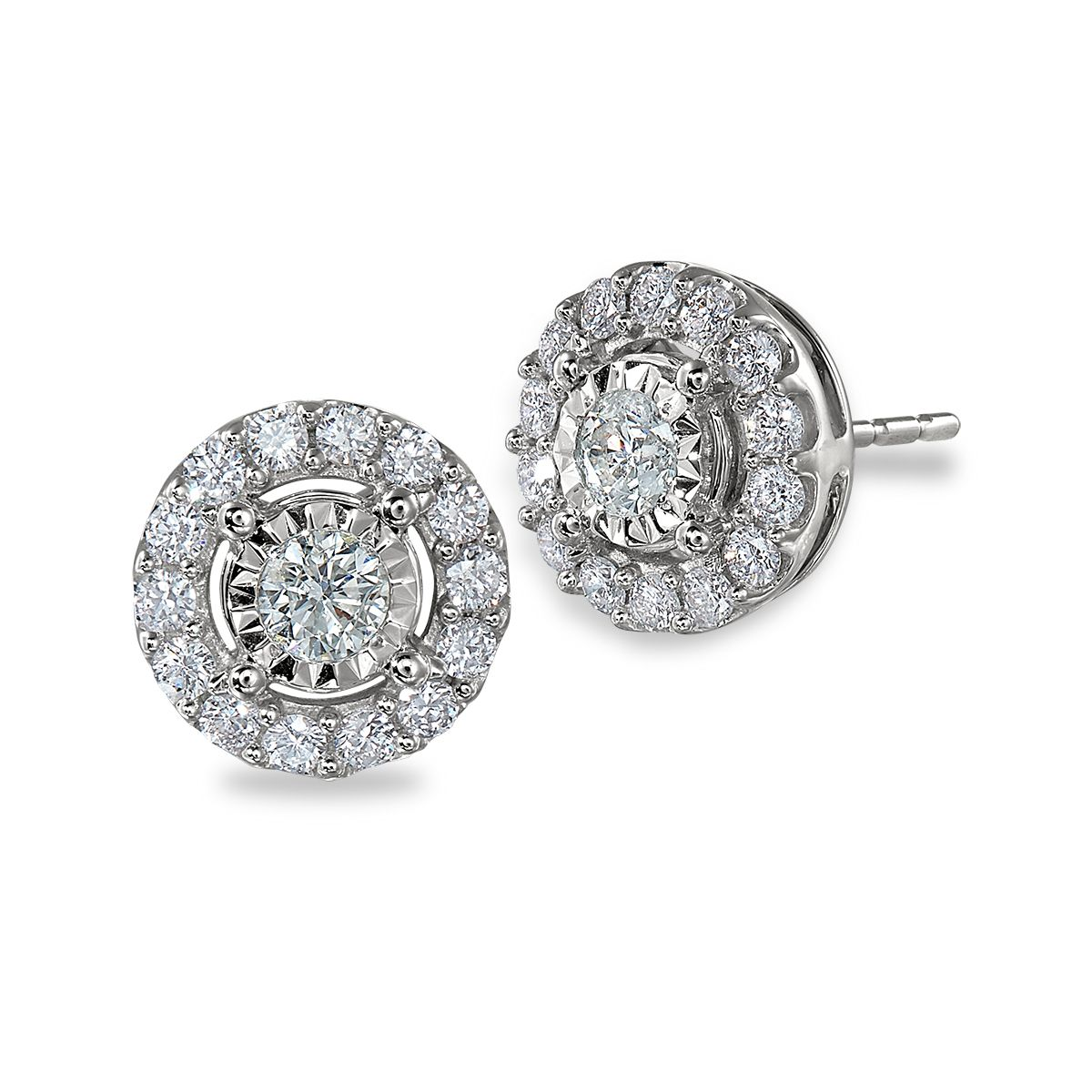 14K White Gold and Diamond Studs