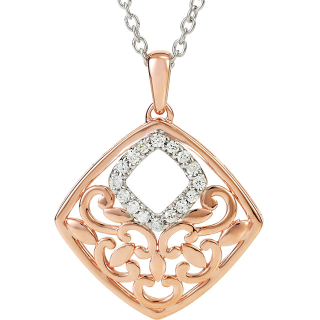 Two-Tone Rose and White Gold Filigree Pendant Necklace