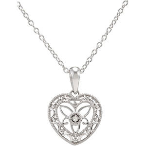 Sterling and Diamond Heart Pendant $79