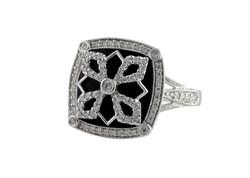 Onyx and Diamond Fashion Ring